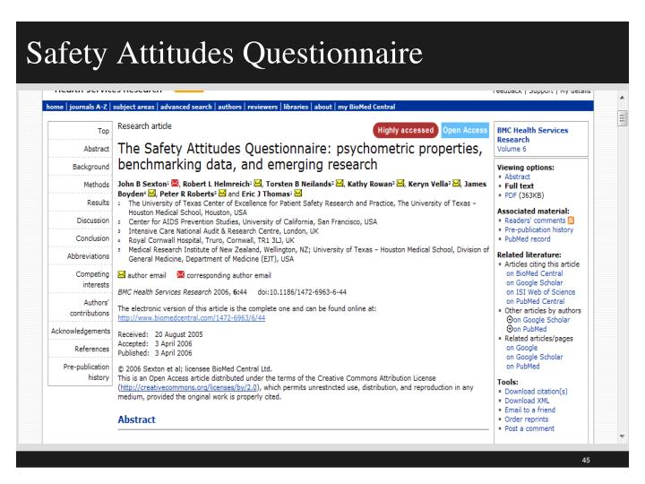 Safety Attitudes Questionnaire