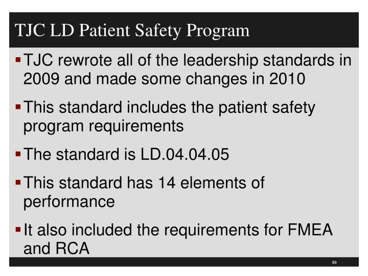 TJC LD Patient Safety Program