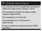 tjc ld patient safety program