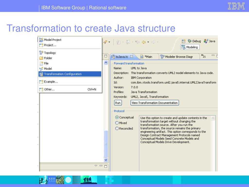 Transformation to create Java structure