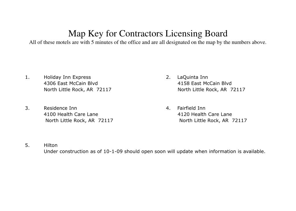 Map Key for Contractors Licensing Board