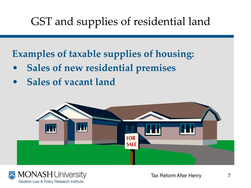 GST and supplies of residential land