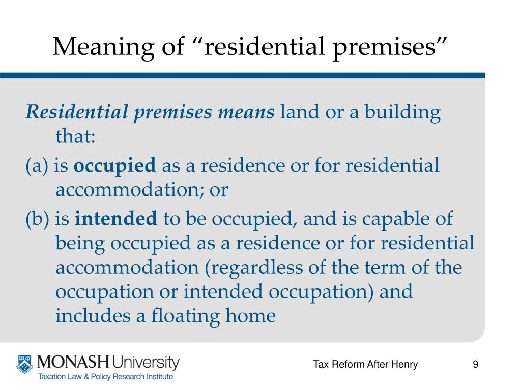 """Meaning of """"residential premises"""""""