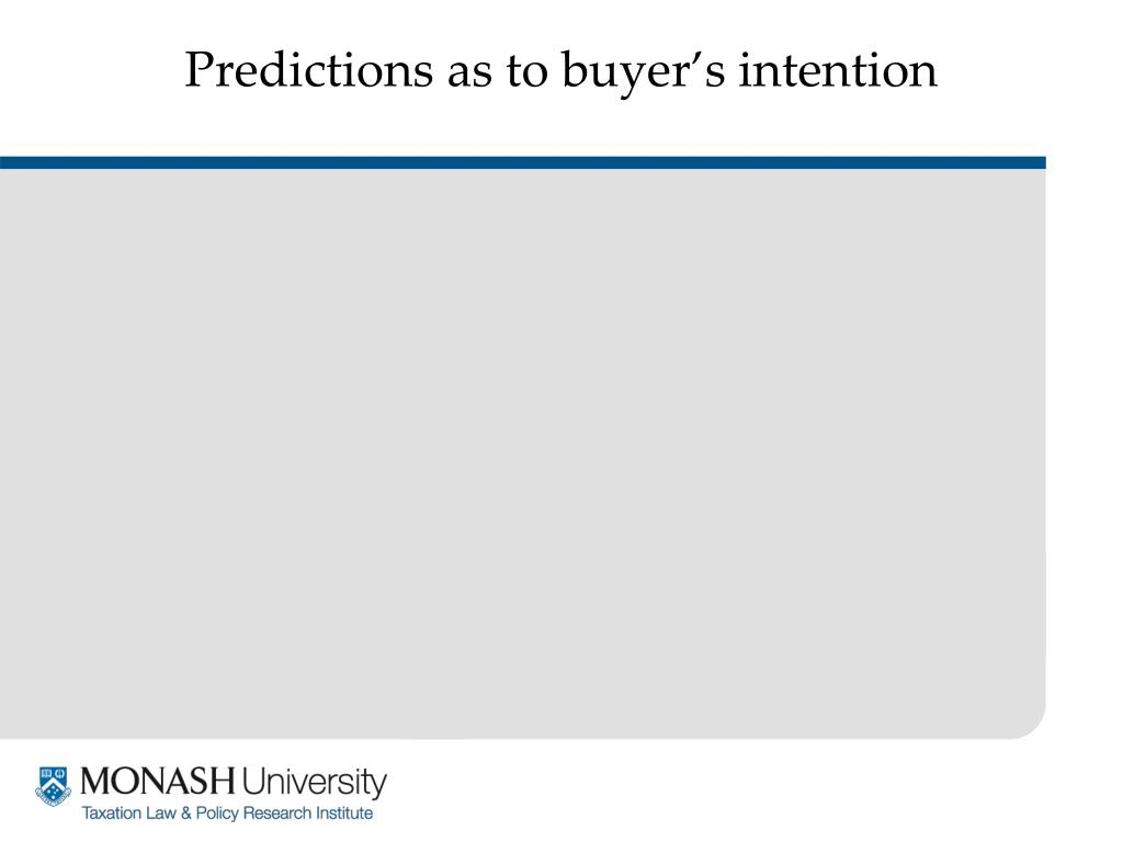 Predictions as to buyer's intention