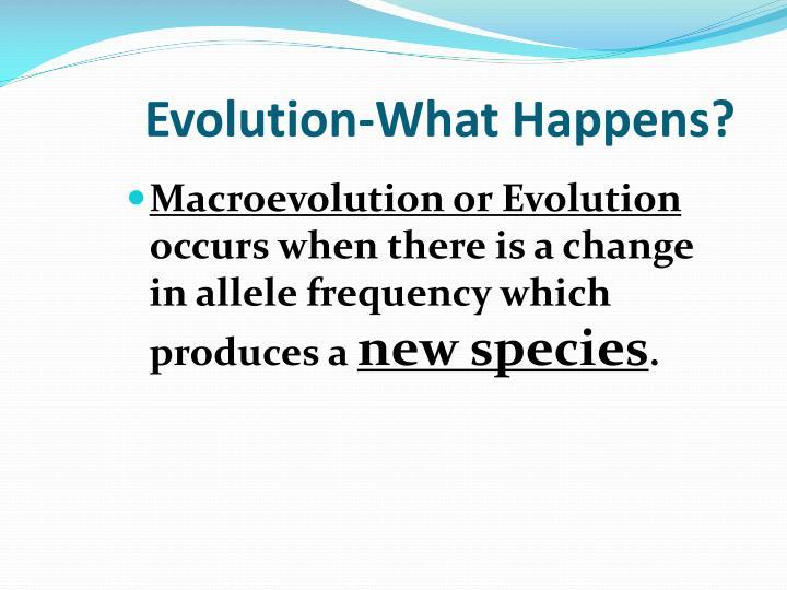 Evolution-What Happens?