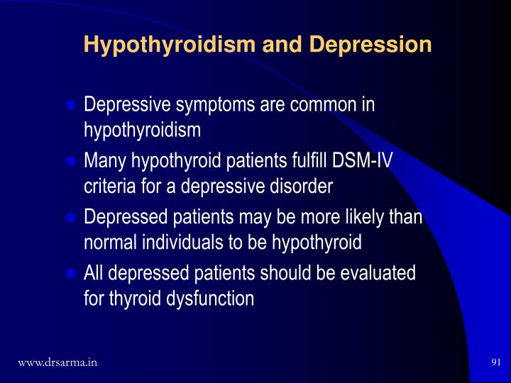 Depressive symptoms are common in hypothyroidism
