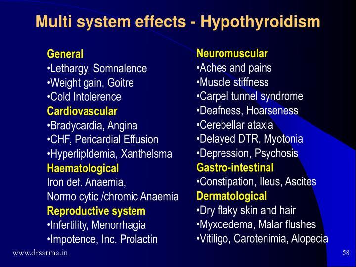 Multi system effects - Hypothyroidism