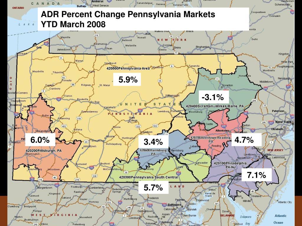 ADR Percent Change Pennsylvania Markets