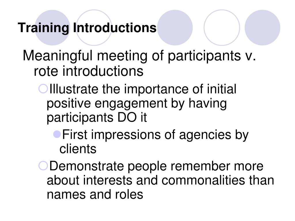 Training Introductions