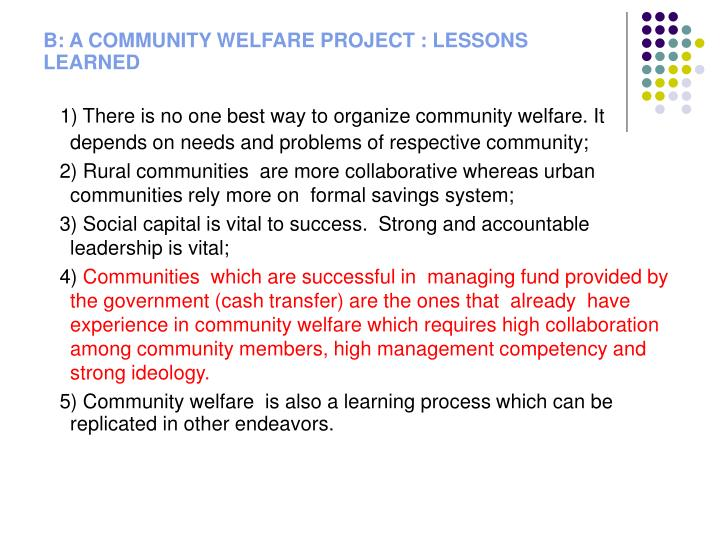 B: A COMMUNITY WELFARE PROJECT : LESSONS LEARNED