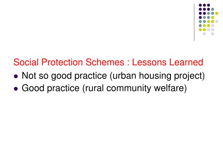 Social Protection Schemes : Lessons Learned