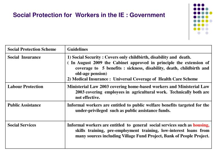 Social Protection for  Workers in the IE : Government