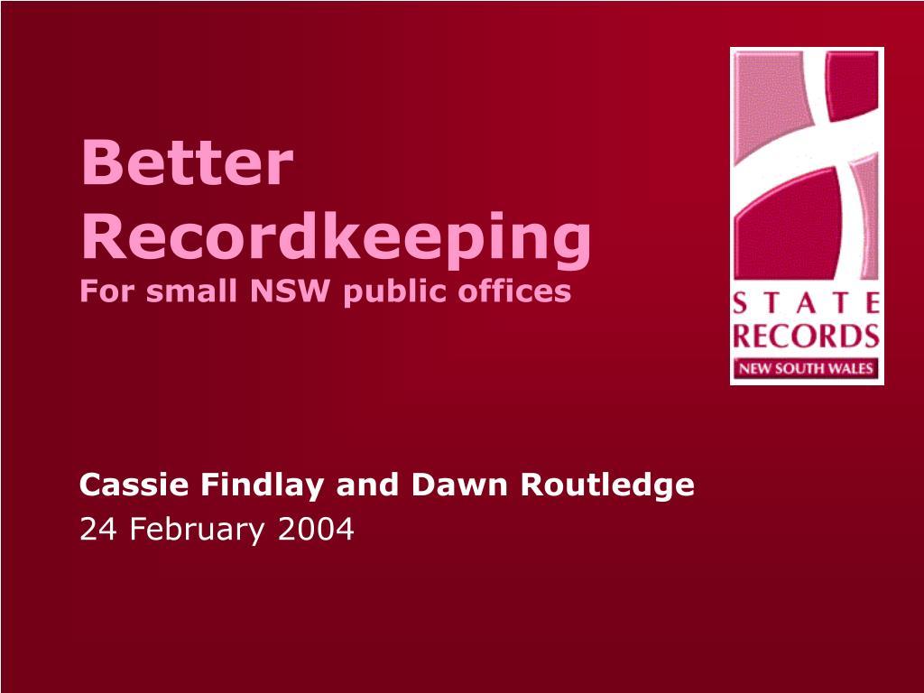 Better Recordkeeping