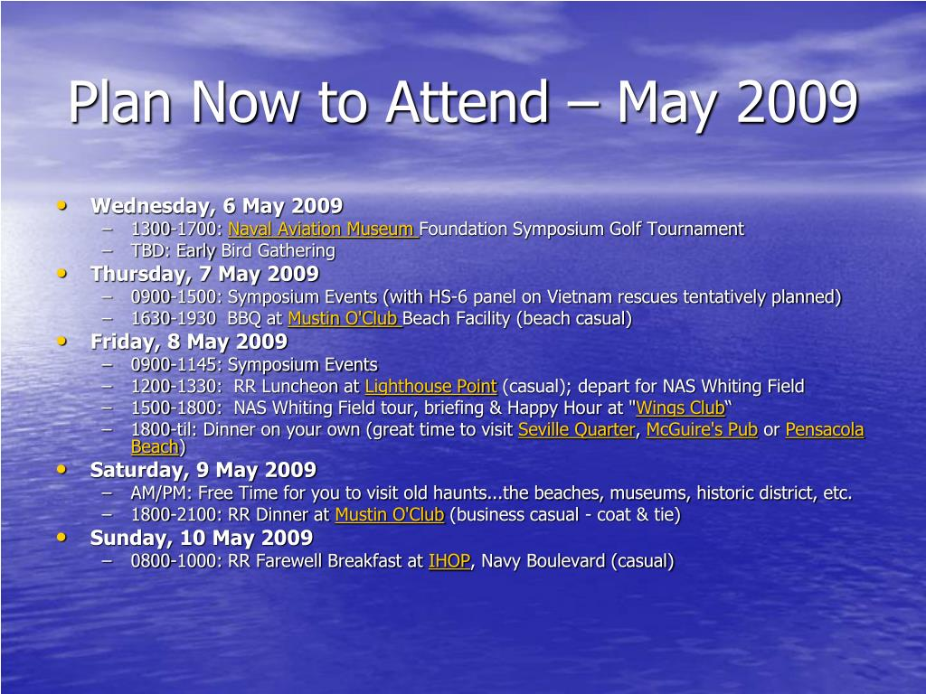 Plan Now to Attend – May 2009