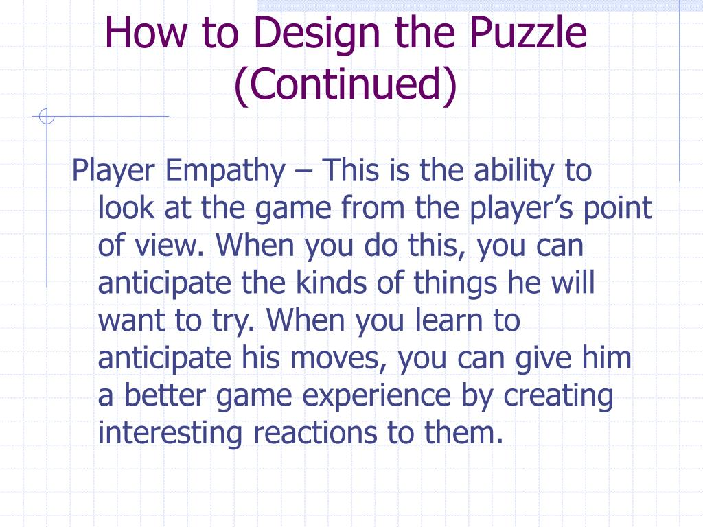 How to Design the Puzzle