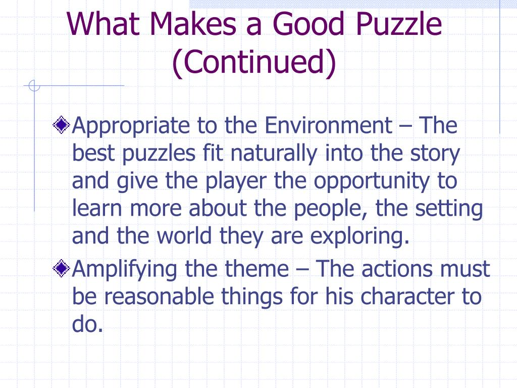 What Makes a Good Puzzle