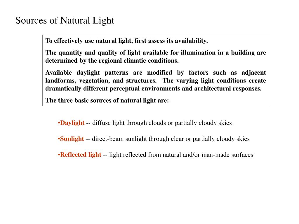 Sources of Natural Light