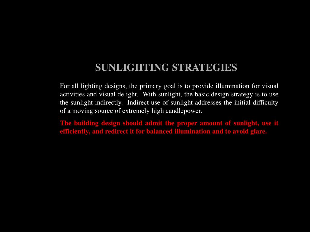 SUNLIGHTING STRATEGIES