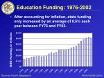 education funding 1976 2002