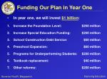 funding our plan in year one