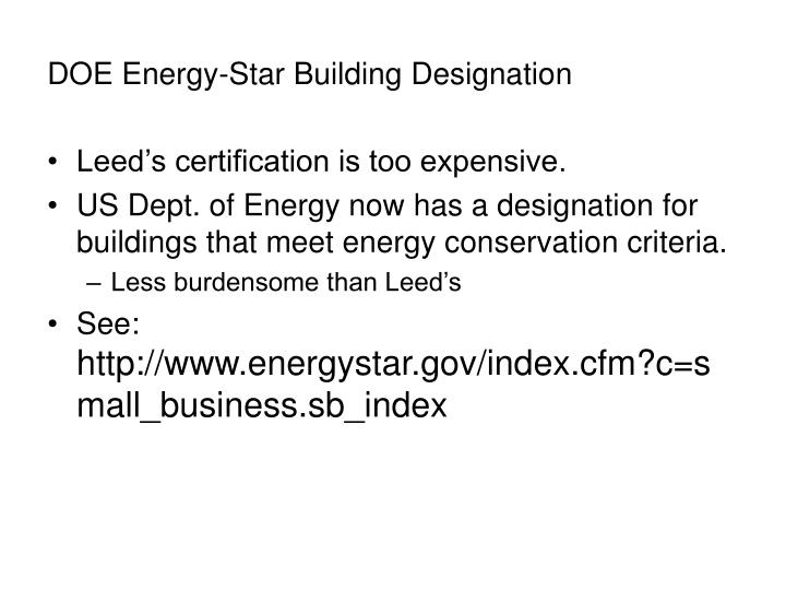 Doe energy star building designation