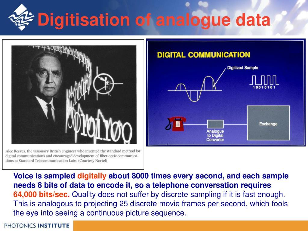 Digitisation of analogue data