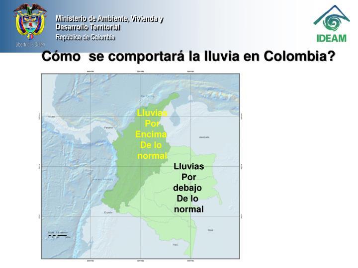 Cómo  se comportará la lluvia en Colombia?