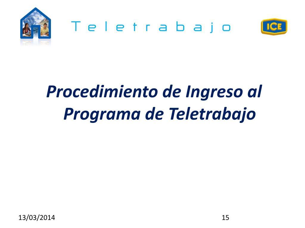 Procedimiento de Ingreso al Programa de Teletrabajo