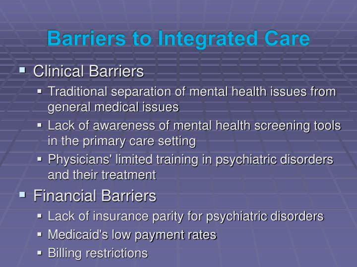 Barriers to Integrated Care