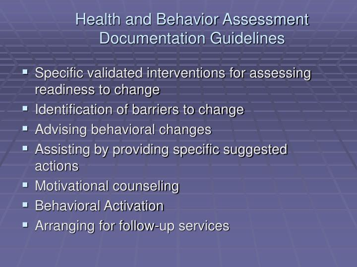 Health and Behavior Assessment Documentation Guidelines