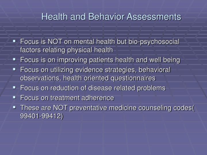 Health and Behavior Assessments