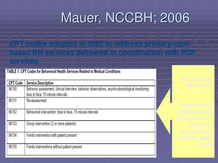 Mauer, NCCBH; 2006