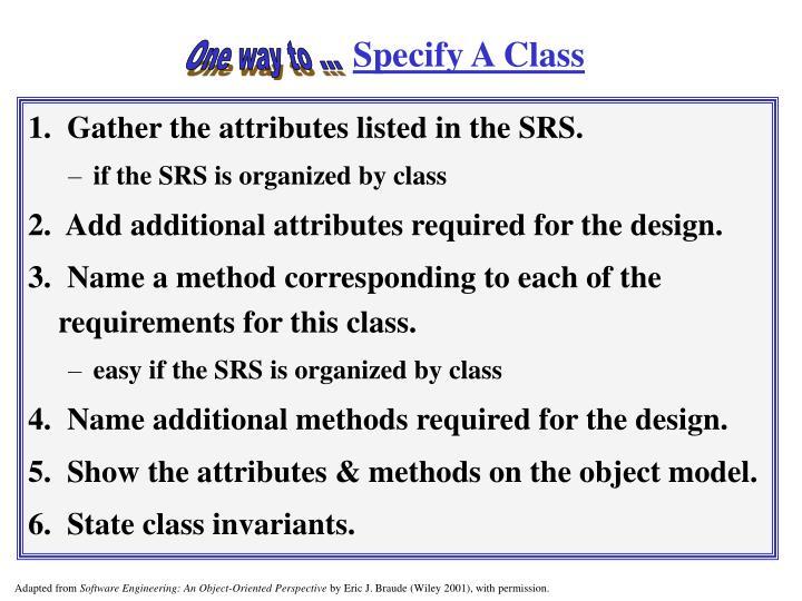 Specify A Class
