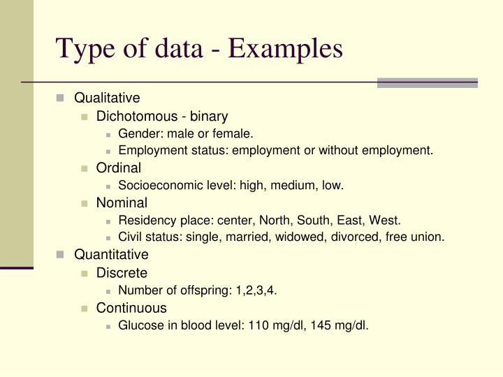 Type of data - Examples