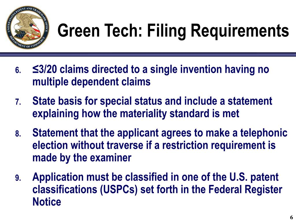 Green Tech: Filing Requirements