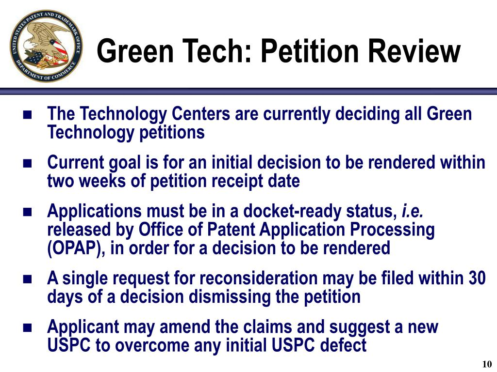 Green Tech: Petition Review