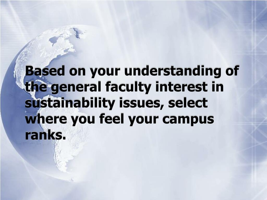Based on your understanding of the general faculty interest in sustainability issues, select where you feel your campus ranks.