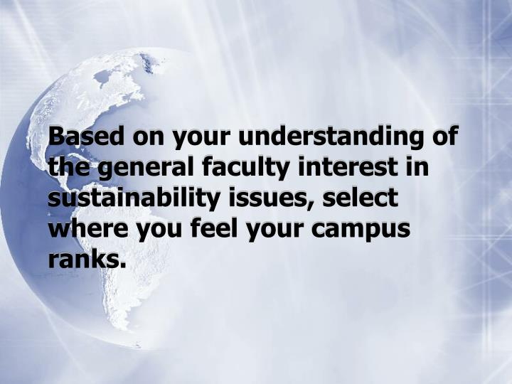Based on your understanding of the general faculty interest in sustainability issues, select where y...