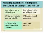 assessing readiness willingness and ability to change tobacco use
