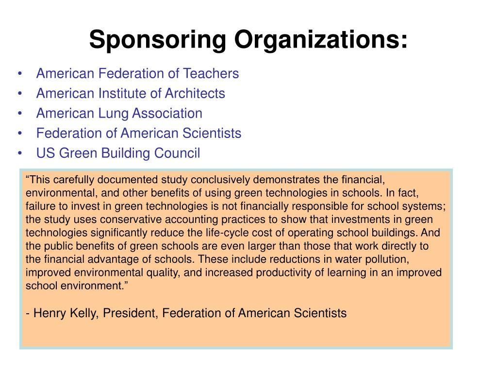 Sponsoring Organizations: