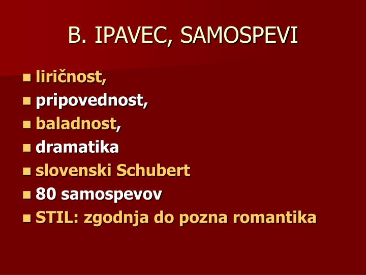 B. IPAVEC, SAMOSPEVI