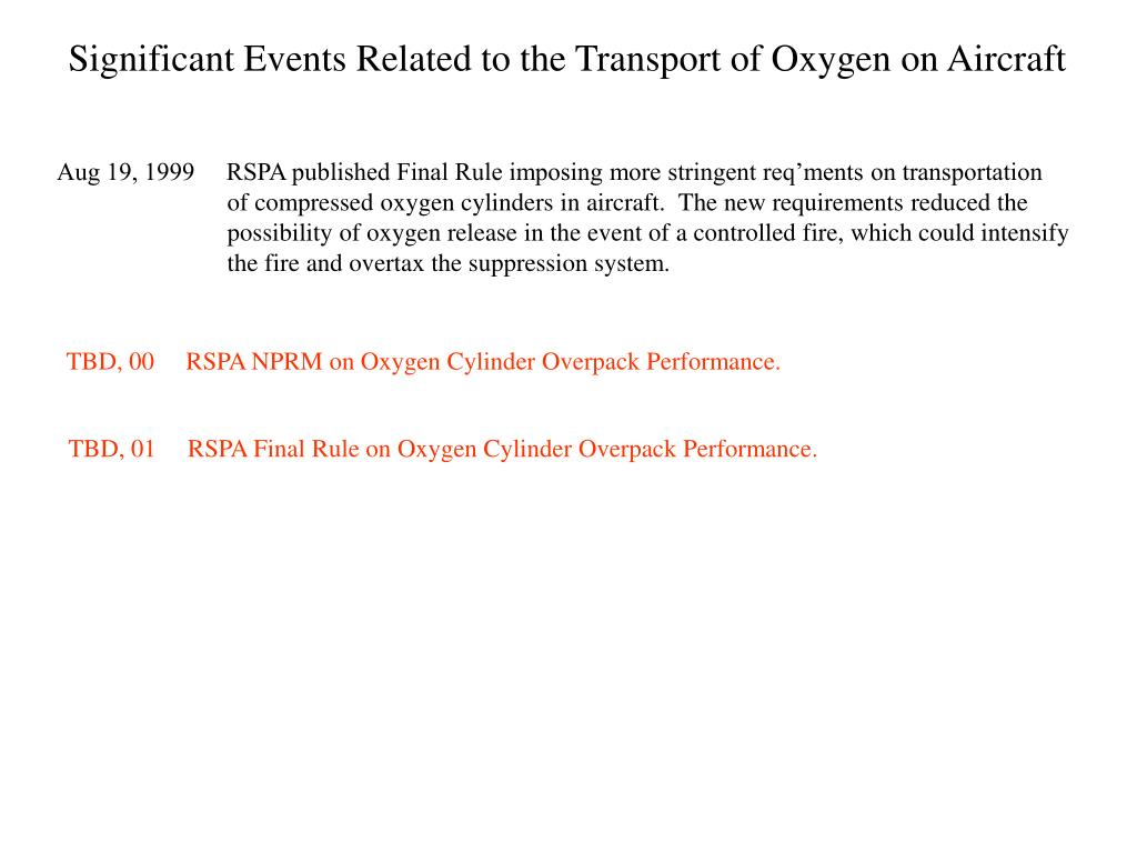 Significant Events Related to the Transport of Oxygen on Aircraft
