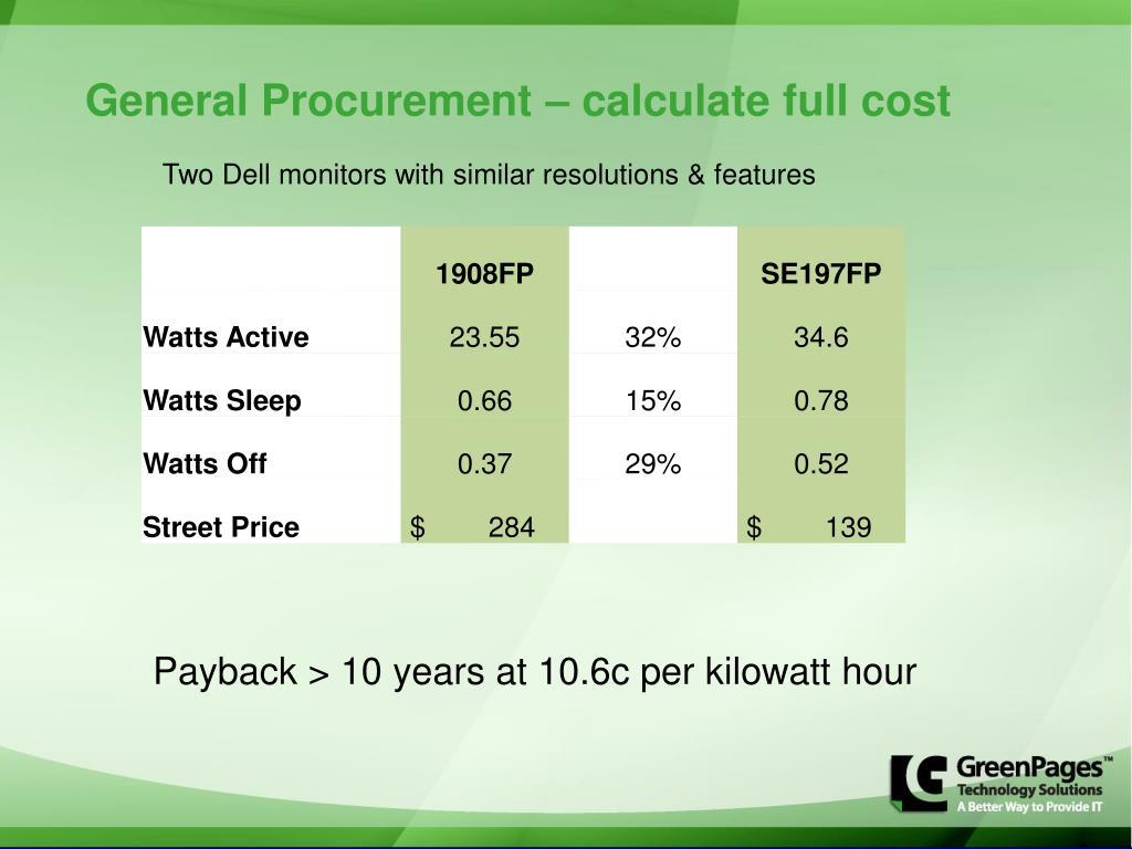 General Procurement – calculate full cost