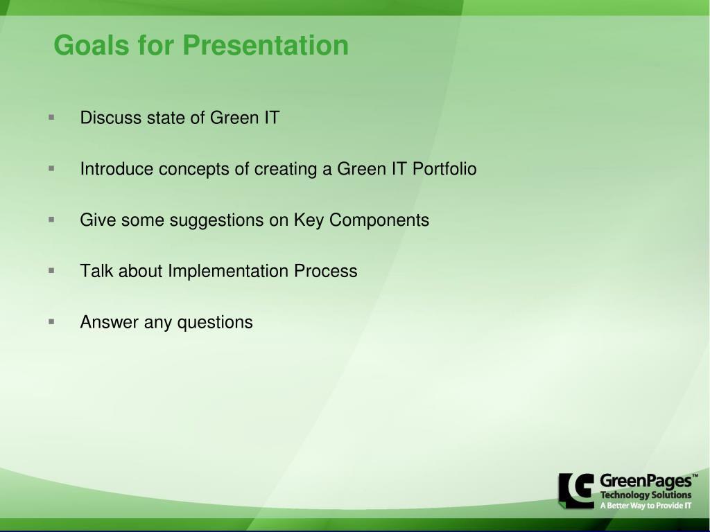 Goals for Presentation