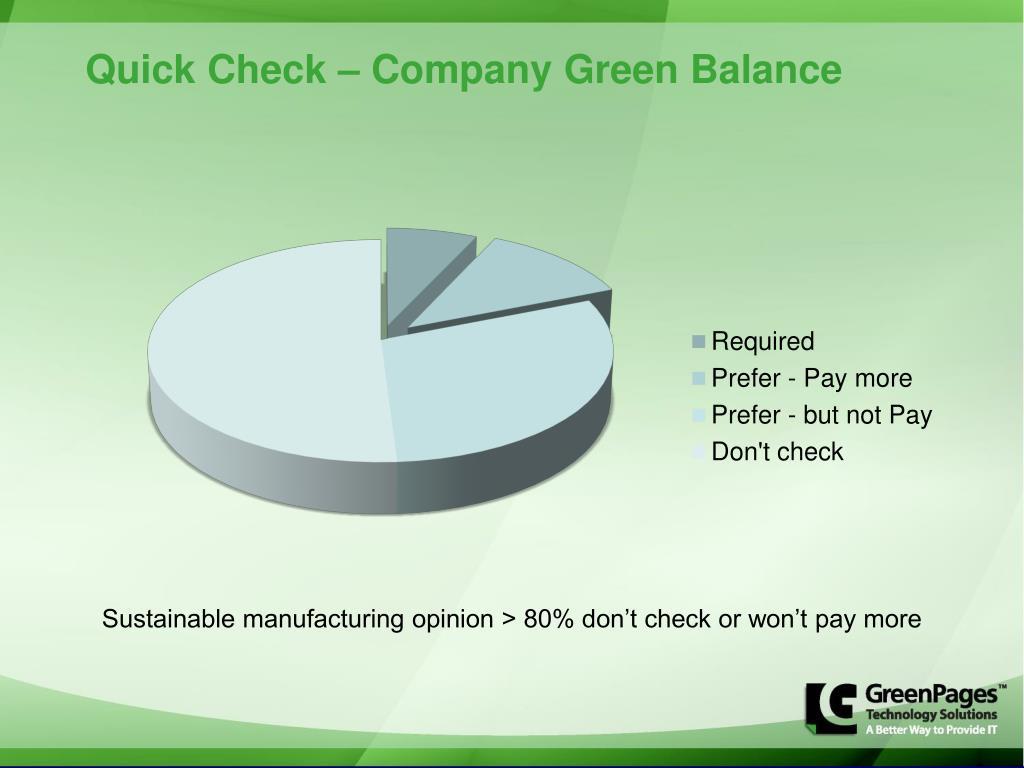Quick Check – Company Green Balance
