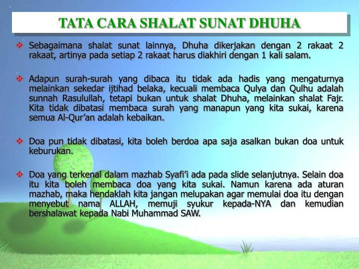 TATA CARA SHALAT SUNAT DHUHA