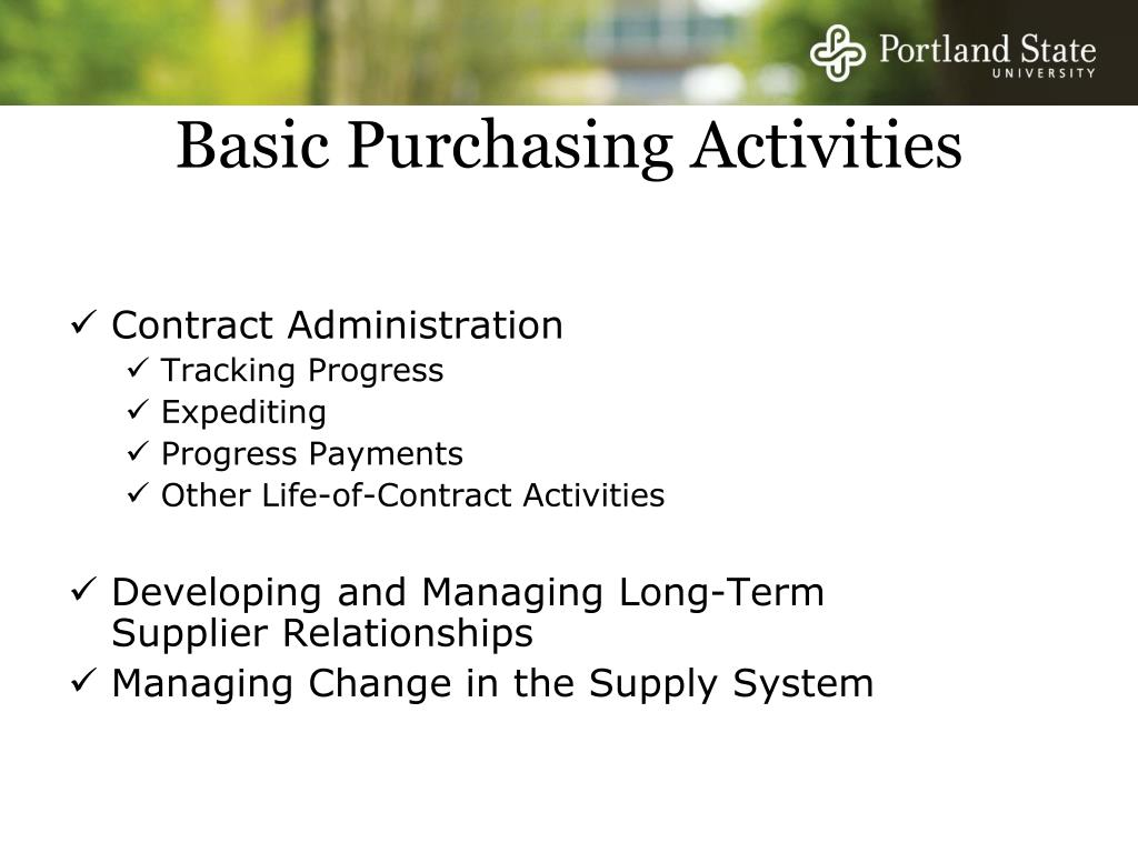 Basic Purchasing Activities