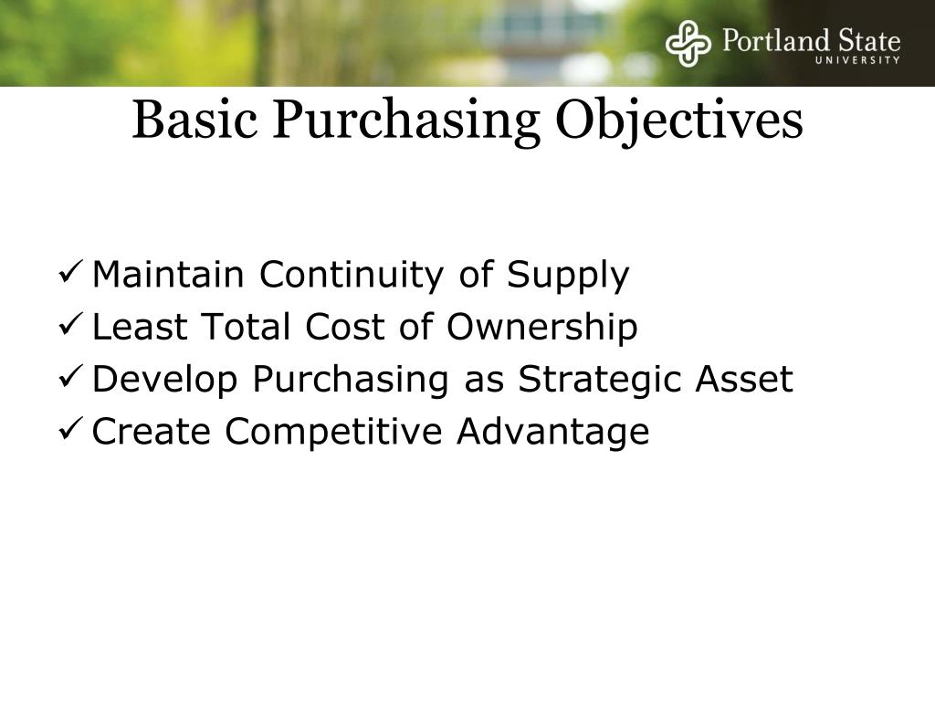 Basic Purchasing Objectives
