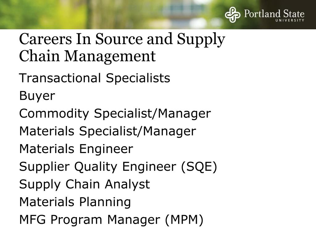 Careers In Source and Supply Chain Management