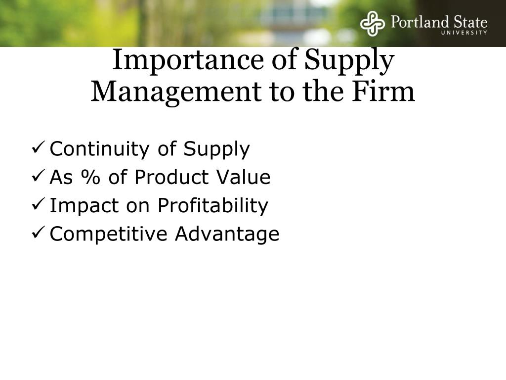 Importance of Supply Management to the Firm